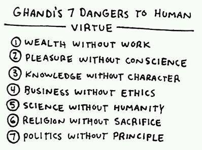 Ghandi's 7 Dangers to Human Virtue